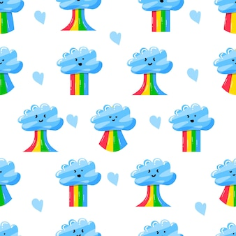 Cute clouds with rainbow in flat hand drawn style seamless pattern