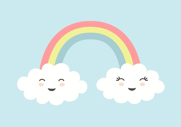 Cute clouds with smiling faces and rainbow