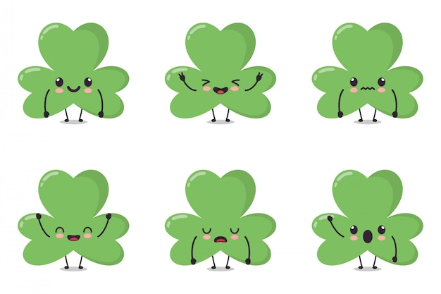 Cute clover leaf character collection set. character illustration in bundle
