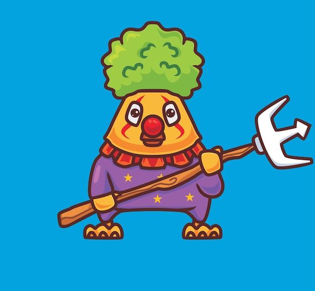 Милый цыпленок-клоун. изолированные мультфильм животных хэллоуин иллюстрации. плоский стиль, подходящий для дизайна стикеров, иконок премиум-логотипов. талисман