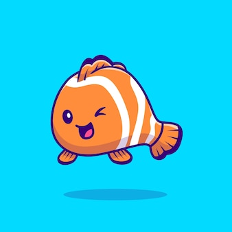 Cute clown fish cartoon vector  illustration. sea animal  concept isolated  vector. flat cartoon style