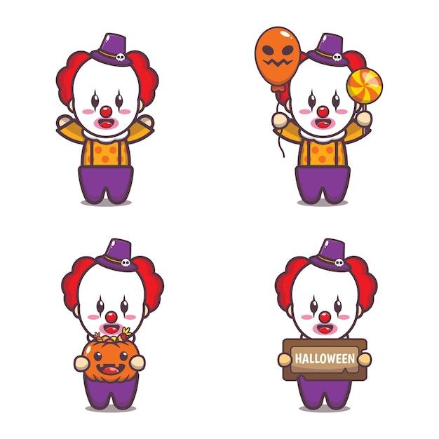 Cute clown halloween cartoon illustration cute halloween cartoon vector illustration