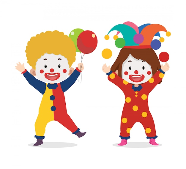 Cute clown party characters