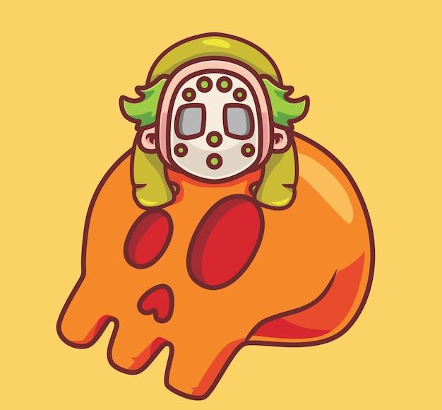 Милый клоун спит на гигантском черепе изолированный мультфильм хэллоуин иллюстрация плоский стиль