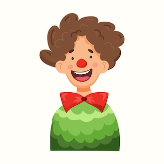 Cute clown smiles. vector illustration in flat style