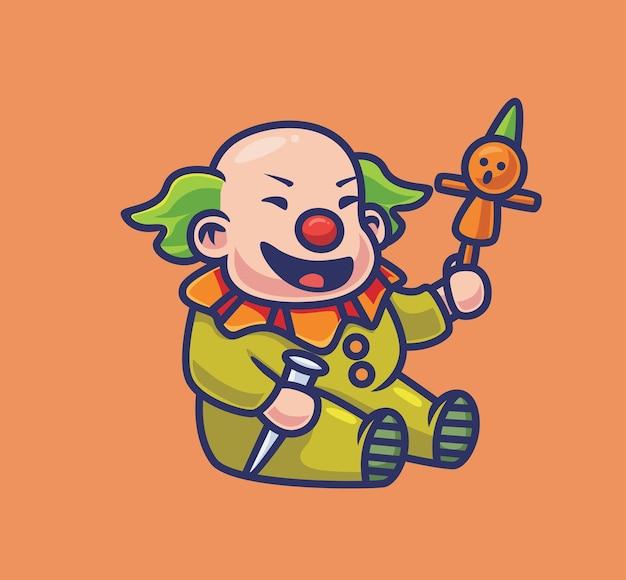 Милое колдовство клоуна с улиткой. изолированные мультфильм хэллоуин иллюстрации. плоский стиль, подходящий для дизайна стикеров, иконок премиум-логотипов. талисман