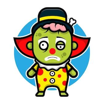 Cute clown zombie cartoon character halloween concept illustration