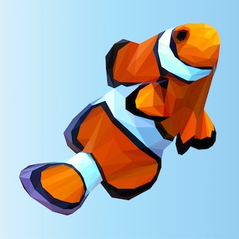 Cute clownfish polygonal vector
