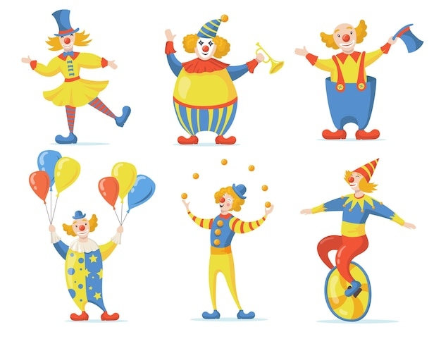 Cute clowns set