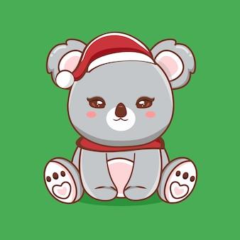 Cute coala character illustration with merry christmas greetings premium vector