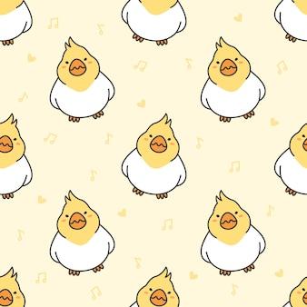 Cute cockatiel bird seamless pattern