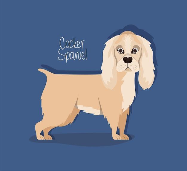 Cute cocker spaniel dog pet character