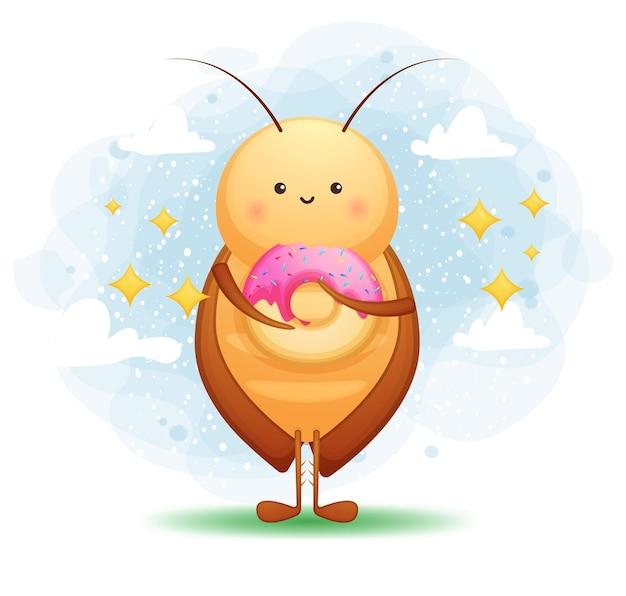 かわいいゴキブリはドーナツ漫画のキャラクターを食べる