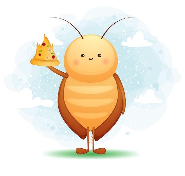 ピザのスライスを保持しているかわいいゴキブリ。漫画のキャラクターとマスコットのイラスト。