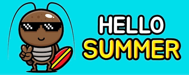Милый таракан с летним поздравительным баннером