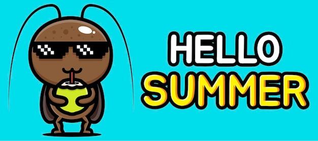 Милый таракан с летним поздравительным баннером Premium векторы