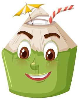 배경에 웃는 얼굴 표정으로 귀여운 코코넛 만화 캐릭터