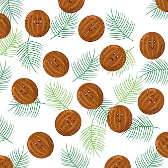 Cute coconut character pattern vector