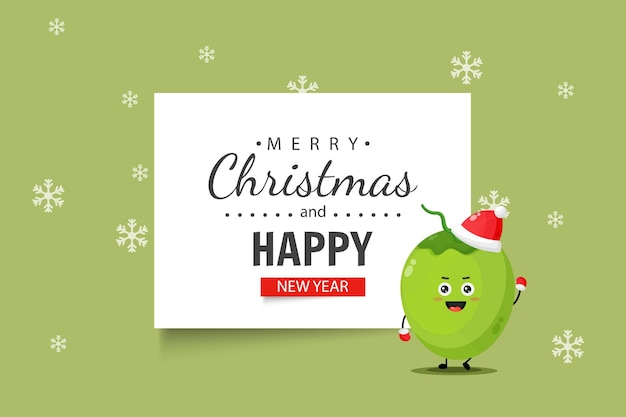 Cute coconut character wishes you a merry christmas and happy new year