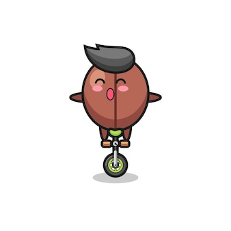 The cute coffee bean character is riding a circus bike , cute style design for t shirt, sticker, logo element
