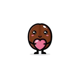 愛の心を抱き締めるかわいいコーヒー豆