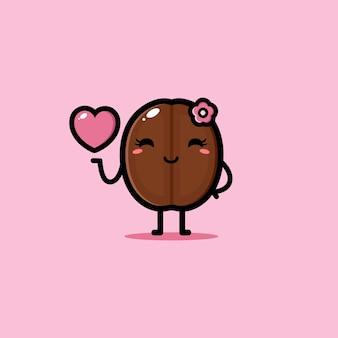 ピンクのハートのかわいいコーヒー豆