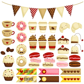Cute coffee cafe icon vector set