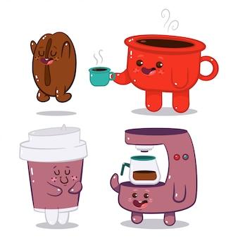 白い背景で隔離のかわいいコーヒーキャラクター漫画セット。
