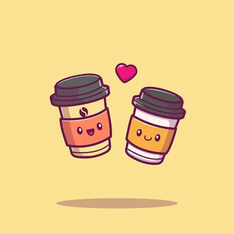 Cute coffee couple cartoon   icon illustration. coffee drink icon concept isolated  . flat cartoon style