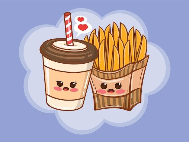 귀여운 커피 컵과 감자 튀김 몇 개념. 만화