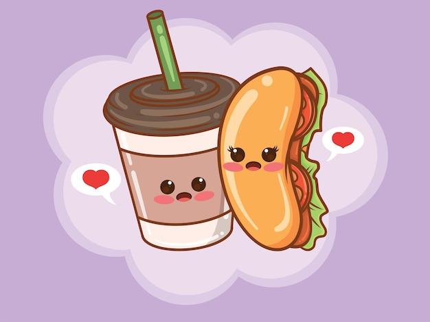Милая чашка кофе и концепция пара хот-дог. мультфильм