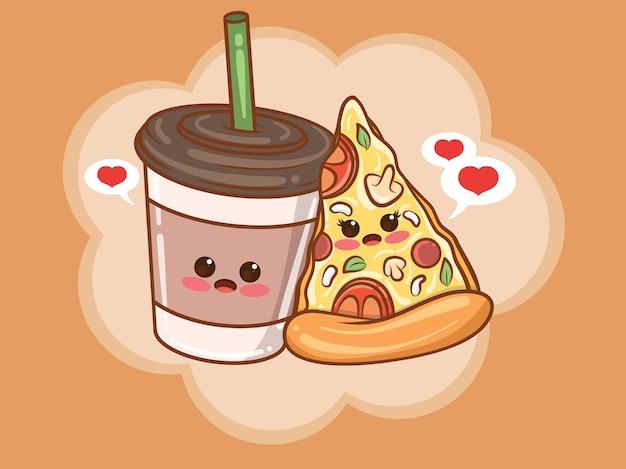 かわいいコーヒーカップとピザのスライスのカップルのコンセプト。漫画