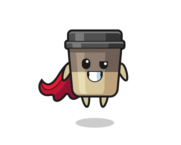The cute coffee cup character as a flying superhero , cute style design for t shirt, sticker, logo element