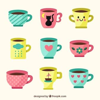 Collezione di tazze di caffè carino