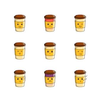 다양한 표정으로 설정된 귀여운 커피잔 일러스트