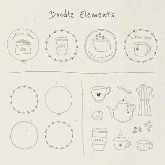 Cute coffee doodle journal sticker set