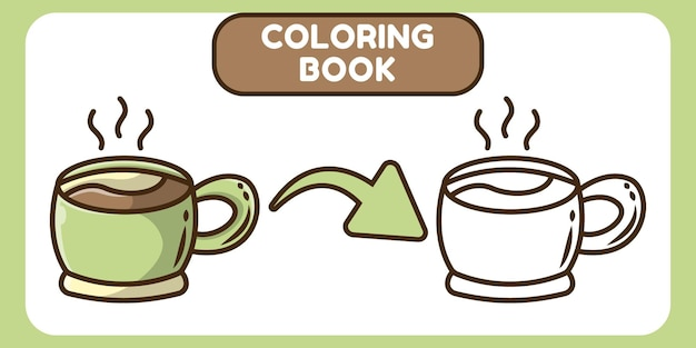 Cute coffee hand drawn cartoon doodle coloring book for kids