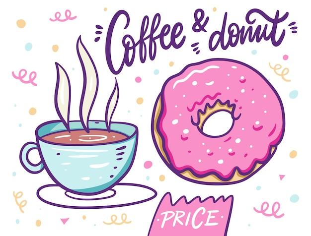 Милый кофе в чашке и розовом пончике. мультяшный стиль.