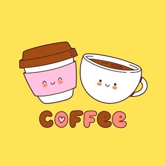 귀여운 커피 종이 컵과 찻잔 로고. 만화 캐릭터 일러스트