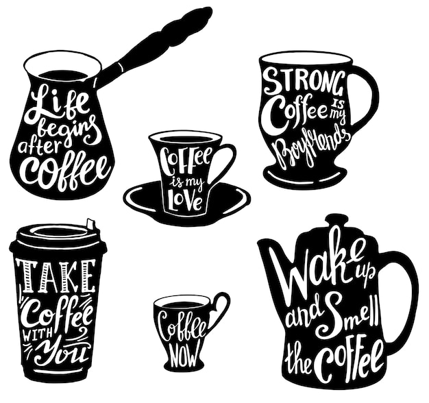Cute coffee quotes and sayings typography set