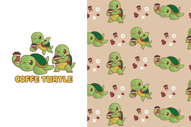 Cute coffee turtle seamless pattern