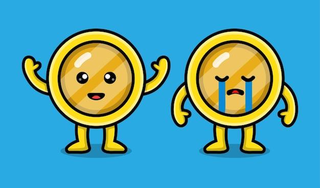 귀여운 동전 캐릭터 만화 일러스트 레이션