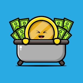 Cute coin gold character illustration