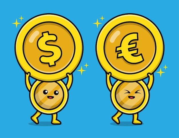 Cute coin gold euro and dollar character illustration