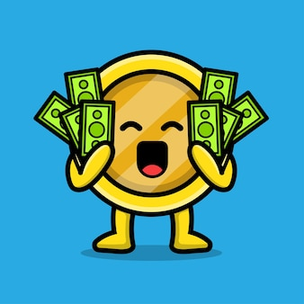 Cute coin gold hold money character illustration