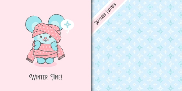Cute cold mouse wrapped in a scarf and snow flakes seamless pattern premium