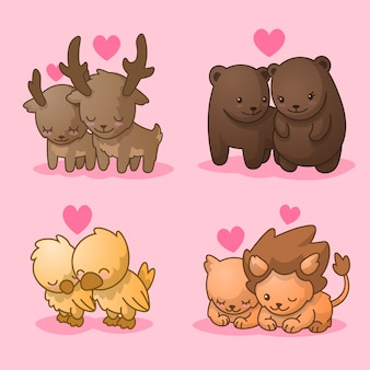 Cute collection of animal couples