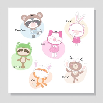 Cute  collection animal with cute hat illustration for kids