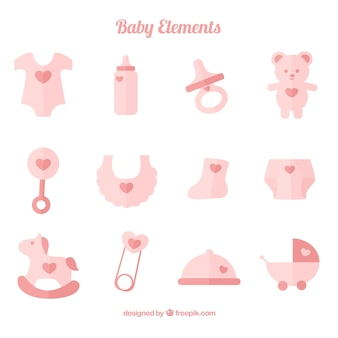 Cute collection of baby accessories in pastel colors