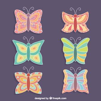 Raccolta di cute di farfalle con disegni fantastici